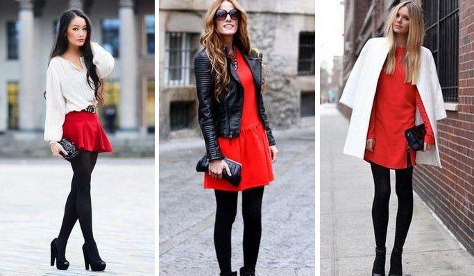 Плотные колготки и юбка